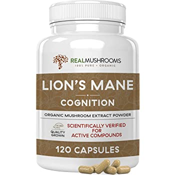 Lions Mane Mushroom Cognition Capsules 120 Caps each, Organic Lions Mane Mushroom Powder Extract Capsules Brain Supplement, 60Day Supply Organic Mushroom Supplement Brain Vitamins Focus Supplement