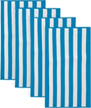 100% Cotton Cabana Stripe Beach Towel. Soft Absorbent Quick Dry Towel Set. Diani Collection. (4 Pack, Air Blue)
