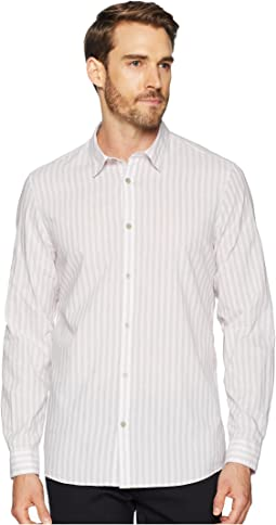 Long Sleeve Washed Stripe Button Down Shirt