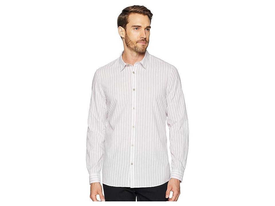 Calvin Klein Long Sleeve Washed Stripe Button Down Shirt (Plush Pink) Men