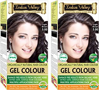Indus Valley Organically Natural Gel Hair Color With Refreshing Orange For Damage Free Results, Extra Safe, Gentle Hair Color – Light Brown 5.0 (Twin Pack)