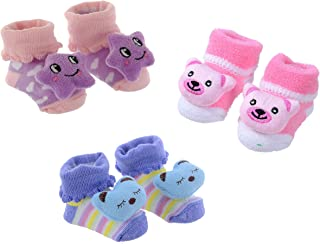 Shop Frenzy Teddy Style Kids Cartoon Printed Baby First Walking Shoes Cum Booties (0-6 Months) (Set of 3 Bootie)