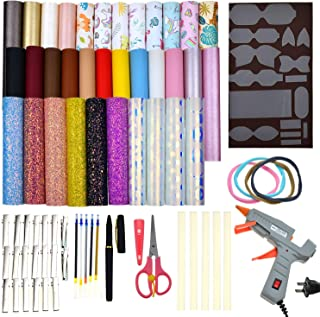 Faux Leather Bow Template Making Kit Include 5 Kinds of Faux Leather Sheets,Hair Clips,Scissor,Bow Template,Hot Melt Glue ...