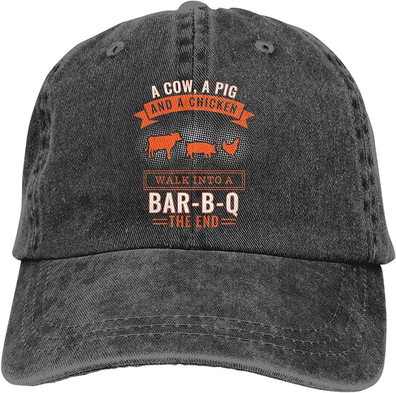 A Cow A Pig and A Chicken Bar-B-Q Hats for Men Women Vintage Baseball Cap Beach Dad Sun Hat Black