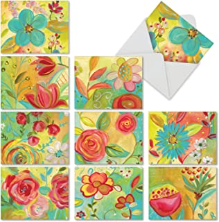 10 Assorted 'Summer Flowers' Thank You Cards with Envelopes, All Occasion Greeting Cards with Bright Watercolor Blooms, Thanks for Weddings, Baby Showers, Holidays 4 x 5.12 inch M3741TYG-B1x10