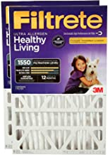 Filtrete MPR 1550 DP 20x25x4 AC Furnace Air Filter, Healthy Living Ultra Allergen Deep Pleat, 2-Pack