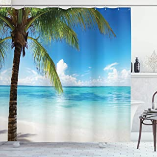 Ambesonne Ocean Shower Curtain, Exotic Beach Water and Palm Tree by The Shore with Clear Sky Landscape Image, Cloth Fabric Bathroom Decor Set with Hooks, 70