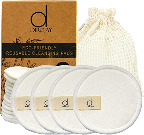 Dirojay Reusable Makeup Remover Pads - Pack of 16 Reusable Cotton Pads with Mesh Bag for Luxury Skincare - Washable, ...