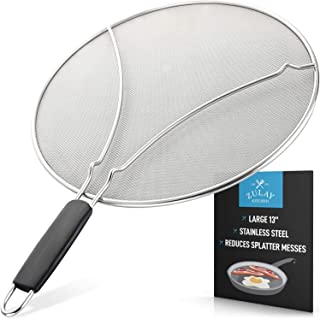 """Splatter Screen for Frying Pan - Stops Almost 100% of Hot Oil Splash - Large 13"""" Stainless Steel Grease Guard Shield and Catcher- Keeps Stove and Pans Clean & Prevents Burns When Cooking by Zulay"""