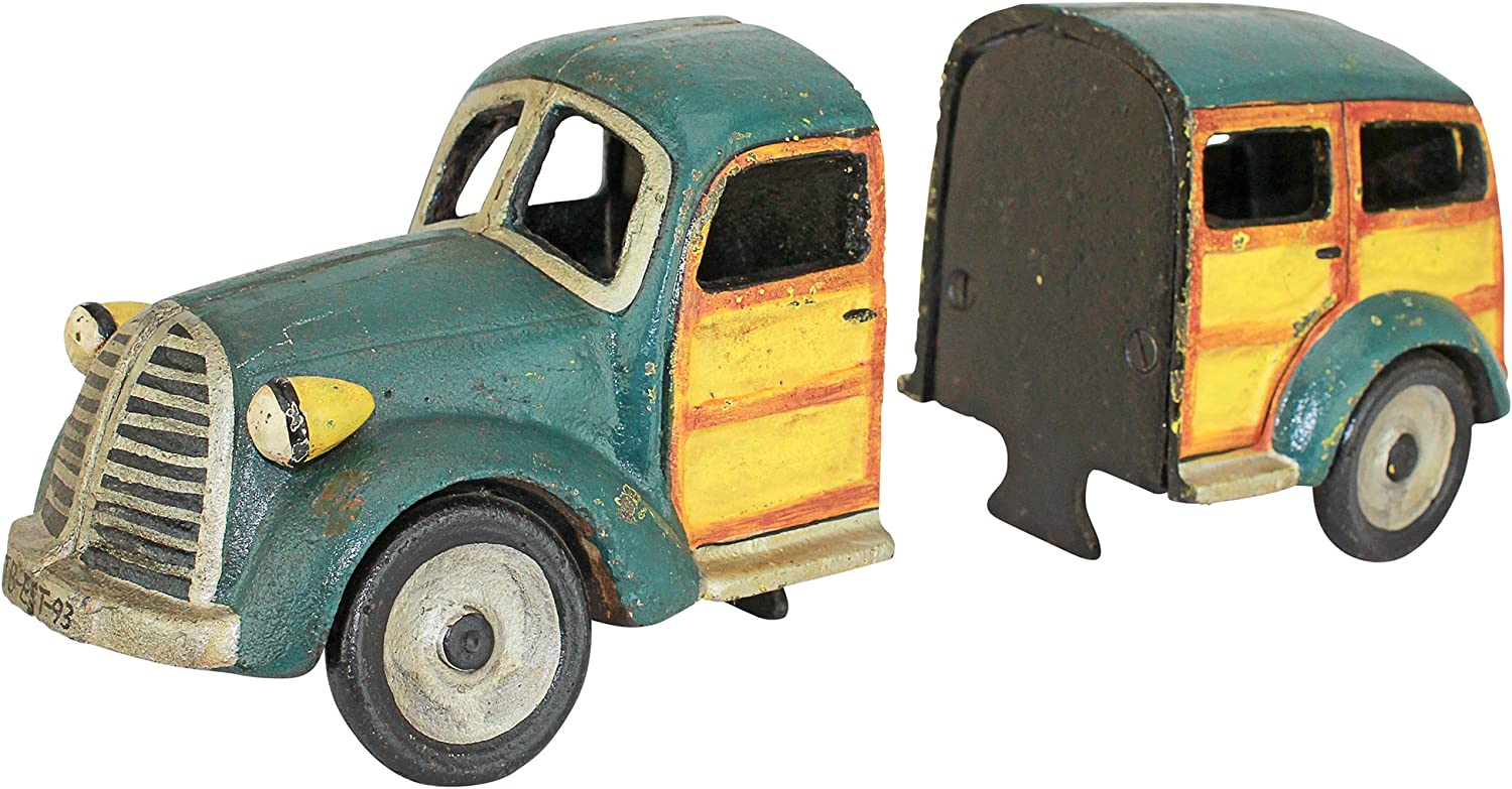 Design Toscano Woodie Wagon Cast Pair Sculptural Bookend Iron Rapid rise F Max 47% OFF