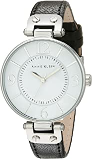 Anne Klein Women's 109169WTBK Silver-Tone and Black Leather Strap Watch