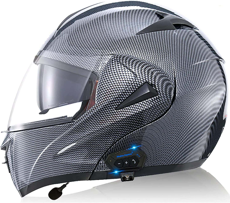 Casco Moto Modular Bluetooth ECE Homologado, Casco De Moto Integral Scooter Para Mujer Hombre Bicicleta Con Doble Visera-Negro Mate Helmets 5,XL=61-62