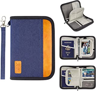 hibyebuying Leather Passport Holder Cover Case RFID Blocking Travel Wallet for People