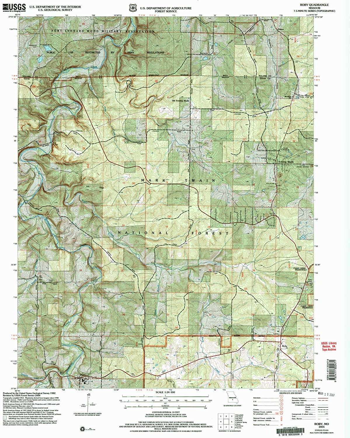 Roby MO topo map, 1 24000 Scale, 7.5 X 7.5 Minute, Historical, 2004, Updated 2006, 26.8 x 22 in