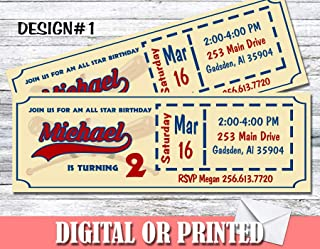 Baseball Ticket Personalized Birthday Invitations More Designs Inside!