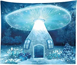 JXHLMS Mushroom Tapestry King Size, Vivid Mushroom House in Fantasy Forest Fairytale Landscape Frozen Winter, Wall Hanging Bedspread Bed Cover Wall Decor, 59 W X 51 L Inches, Aqua White Dark Blue