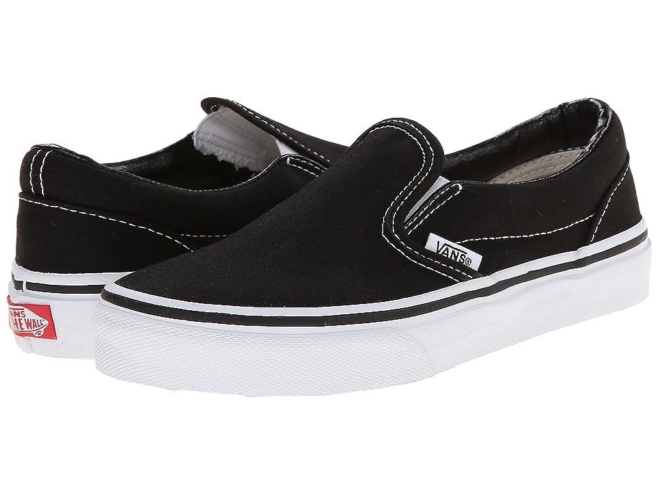 Vans Kids Classic Slip-On (Little Kid/Big Kid) (Black/True White) Kids Shoes