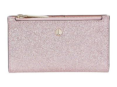 Kate Spade New York Burgess Court Small Slim Bifold Wallet (Rose Gold) Handbags