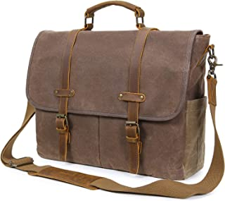 Lifewit Mens Messenger Bag 15.6 Inch Laptop Briefcase Leather Waxed Canvas