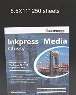 """$127 » Inkpress Glossy, Single Sided Gloss Surface Inkjet Paper, 240gsm, 10.4 mil, 8.5x11"""", 250 Sheets"""