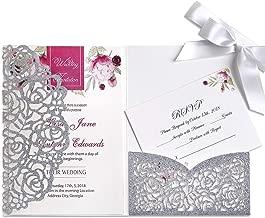 PONATIA 20 PCS 3 Folds 5x7'' Wedding Invitations Cards with Envelopes Ribbons for Wedding Bridal Shower Engagement Birthday Graduation Invite (Silver Glitter)
