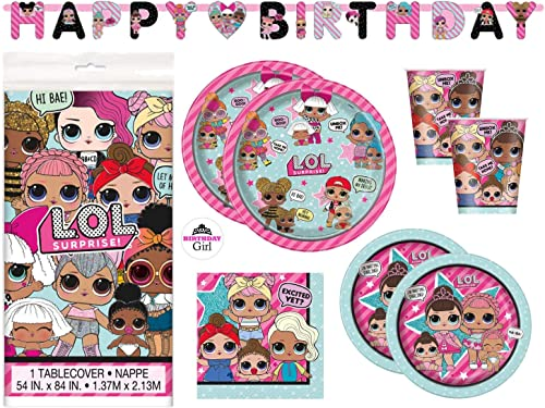 LOL Birthday Party Supplies Set - Dinner and Cake Plates, Cups, Napkins, Decorations (Deluxe with Banner - Serves 16)