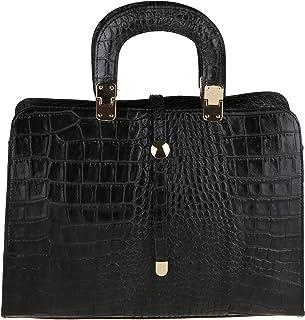 Chicca Borse Handbag Borsa a Mano da Donna con Tracolla in Vera Pelle Made in Italy Stampa Pitone 37x26x14 Cm