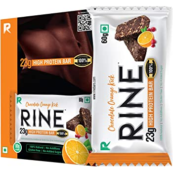 Rine Bars High Protein Sugar Free Bars for Workout & Snacks (23 gm Protein), Chocolate Orange Kick (Pack of 6)