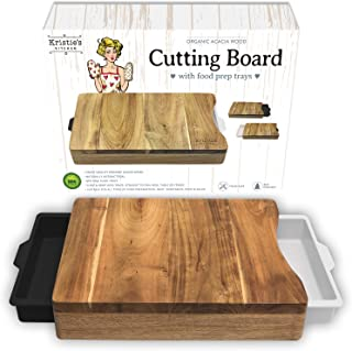 Cutting Board with Trays - Cutting Board with Containers White Black