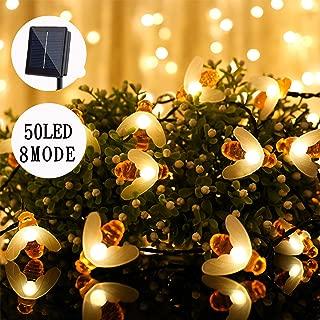 XDlight 50 LED Cute Honeybee Solar Powerd String Lights,8 Modes Waterproof Fairy Decorative Lights for Indoor&Outdoor,Patio,Garden,Home,Party etc (Warm White)