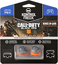 KontrolFreek Call of Duty: Black Ops 4 Grav Slam for PlayStation 4 (PS4) Controller | Performance Thumbsticks | 1 High-Rise Convex, 1 Mid-Rise Convex | Gray/Orange