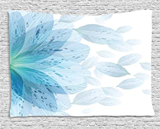 Ambesonne Floral Tapestry by, Round Pattern of Blue Flower Petals Spring Season Nature Theme Artwork, Wall Hanging for Bedroom Living Room Dorm, 80WX60L Inches, Light Blue and White