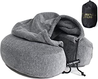 Luxury Quality Memory Foam Neck Pillow with Hoodie. Lovely Carrying Bag. Quality Velvet Fabric Travel Pillow. Comfortable U Shaped Pillow. Perfect Gift Idea by Genuine Picks