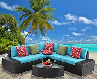 HTTH 6 Pieces Patio Furniture Sets Outdoor Sectional Patio Wicker Sofa (8589-EXP-TRQ)