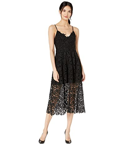 ASTR the Label Lace A-Line Midi Dress (Black) Women
