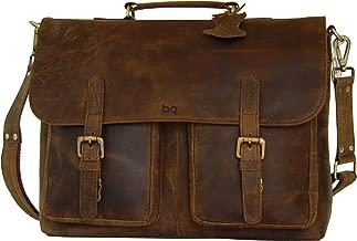 Full Grain Leather Briefcase, Shoulder Bag, Messenger Bag, Laptop Satchel by BASIC GEAR
