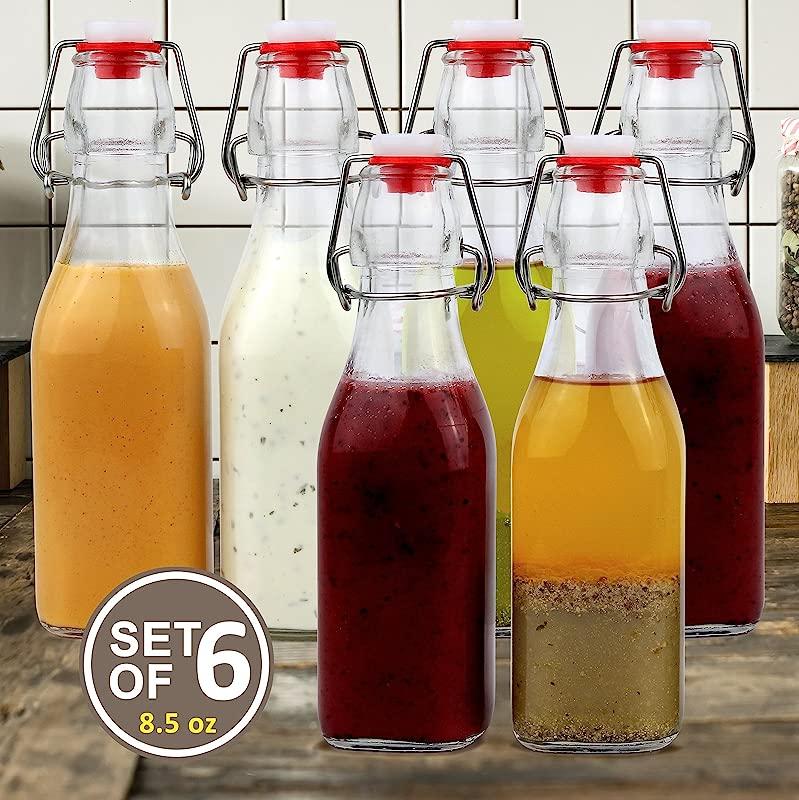 Estilo Swing Top Easy Cap Clear Glass Bottles Square 8 5 Oz Set Of 6