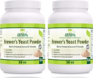 Herbal Secrets Brewer's Yeast Powder (16 oz) 1 lb Gmo-Free - Allergen Free - Supports Heart & Digestive Health, (Pack of 2)