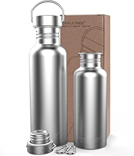 TRIPLE TREE Sports Water Bottle 304 18/8 Stainless Steel Uninsulated Single Walled Construction for Cyclists, Runners, Hik...