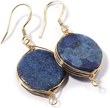 bbec48f35 Natural Stone Wire Wrap Dangle Drop Earrings Gold Plated 925 Sterling Silver  Hook/Lapis Lazuli