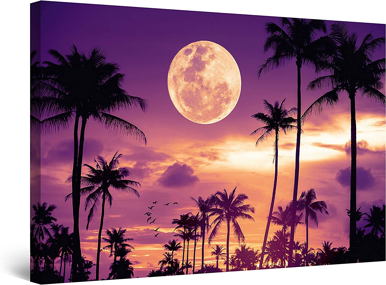 Startonight New Shipping Free Shipping Canvas Wall 25% OFF Art Decor in Miami Purple Landsc Evening