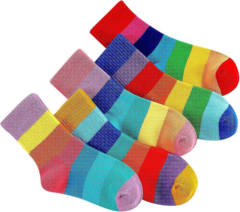 5 Pair Kids Long Socks Cute Print Children Middle Tube Socks Breathability Warm Socks for Festival Gift