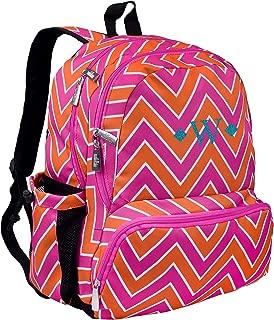 Monogrammed Me Megapak 17 Inch Backpack, Pink Chevron, with Glitter Vinyl David Monogram W
