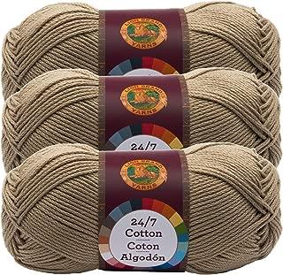 (3 Pack) Lion Brand Yarn 761-122 24-7 Cotton Yarn, Taupe