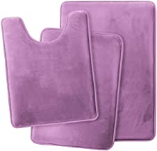 Clara Clark Memory Foam Bath Mat Ultra Soft Non Slip and Absorbent Bathroom Rug, Set of 3 - Small/Large/Contour, Lavender ...