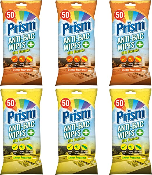 300pk Prism Antibacterial Cleaning Wipes For Home Kitchen Sinks Office Worktops Dining Top Glass Long Lasting Disinfectant With Resealable Tabs Amazon Co Uk Grocery