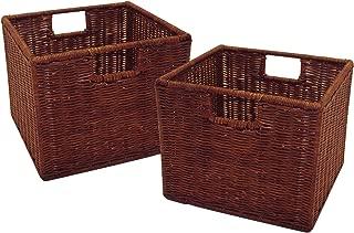 Winsome Furniture Piece Leo Set of 2, Wired Basket, Small, Walnut
