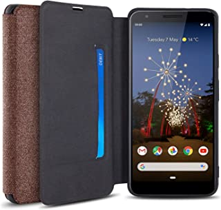 Olixar for Google Pixel 3a Canvas Wallet Case - Slim Cover - [Wallet Case] - Interior Credit Card Slot & Media Viewing Stand (Brown)