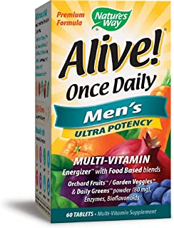 Nature's Way Alive! Once Daily Men's Multivitamin, Ultra Potency, Food-Based Blends (291mg per serving), 60 Tablets (Packaging May Vary)