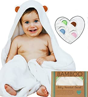 Hooded Baby Towel and Washcloth Set | Extra Soft Organic Bamboo for Infant, Toddler, Newborn and Kids | Great for Boys and Girls at Bath, Pool and Beach | White, Brown Bear Ears